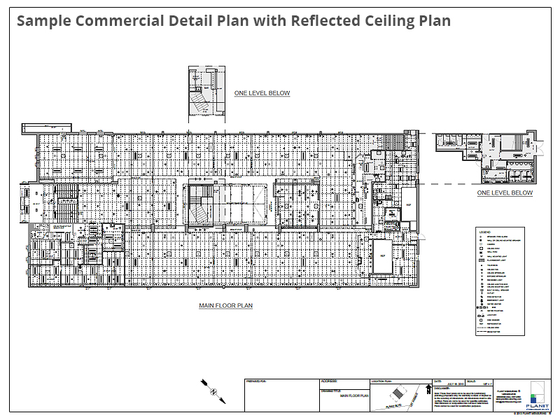Sample Commercial Detail Plan with Reflected Ceiling Plan
