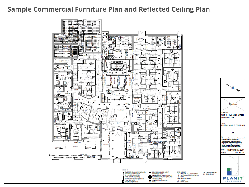 Sample Commercial Furniture Plan and Reflected Ceiling Plan